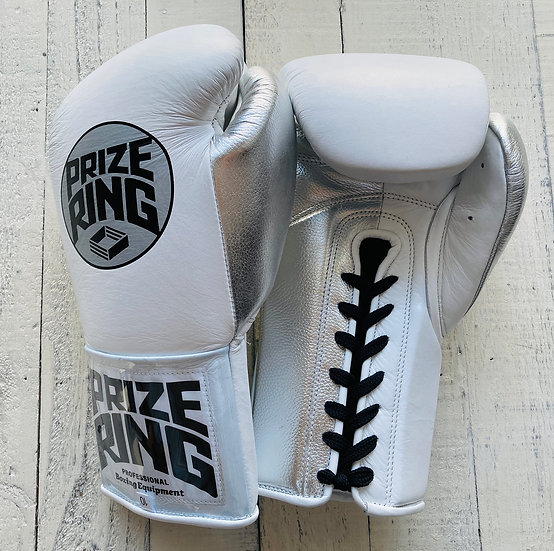 "PRIZE RING ""Pro-Training"" boxing gloves White/Silver 8oz/10oz"