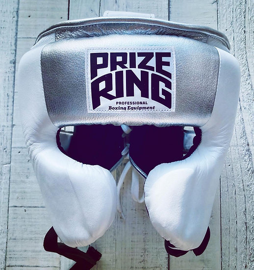 "PRIZE RING ""Pro-training"" Head guard White/silver Medium"