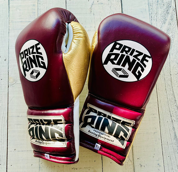 "PRIZE RING ""Pro-Training"" boxing gloves Maroon/Gold 14oz/16oz"