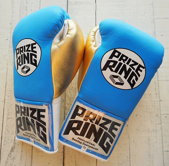"PRIZE RING ""Pro-fight G10"" horse hair boxing gloves Sky blue/Gold 10oz"