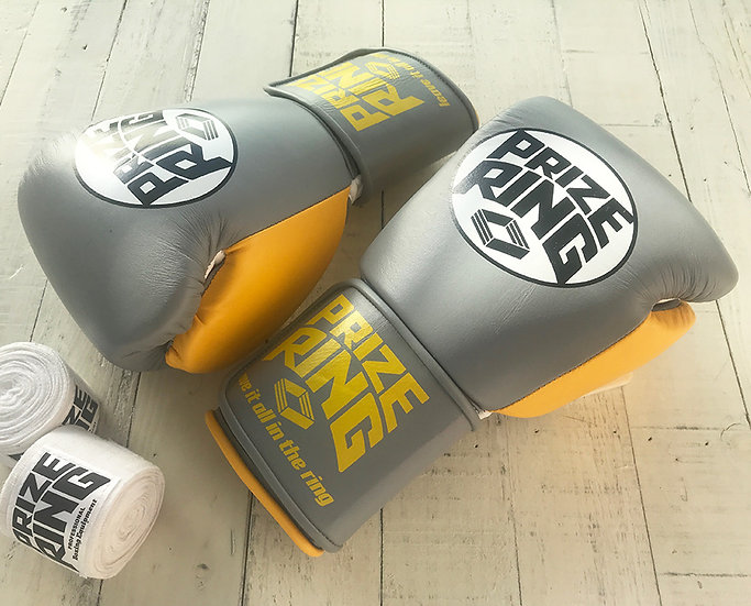 "PRIZE RING ""Professional 5.0"" boxing gloves Grey/Yellow 10oz"