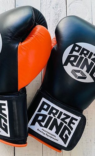 "PRIZE RING ""Professional 5.0"" boxing gloves BK/Orange 10oz/12oz/14oz/16oz"