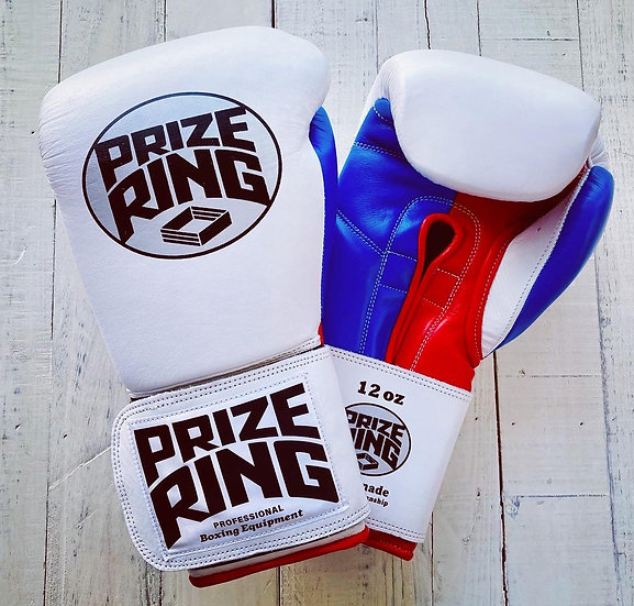 "PRIZE RING ""Professional 5.0"" boxing gloves White/Blue/Red 10oz/12oz/16oz"