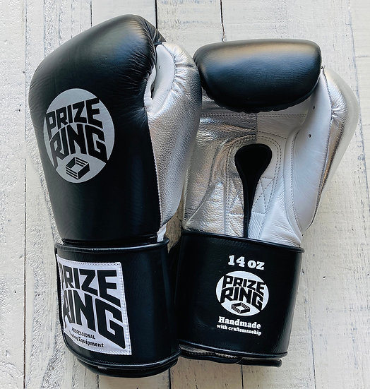 "PRIZE RING ""Pro-Training"" boxing gloves BK/Silver 14oz"