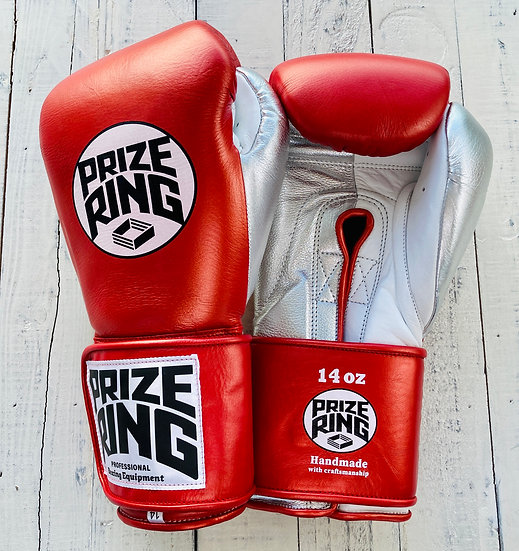 """PRIZE RING """"Pro-Training"""" boxing gloves Shinny red 14oz"""