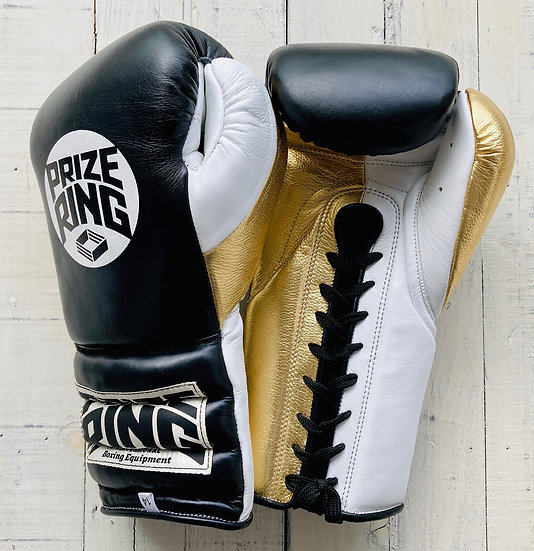 "PRIZE RING ""Pro-Training"" boxing gloves BK/Champagne gold 14oz/16oz"