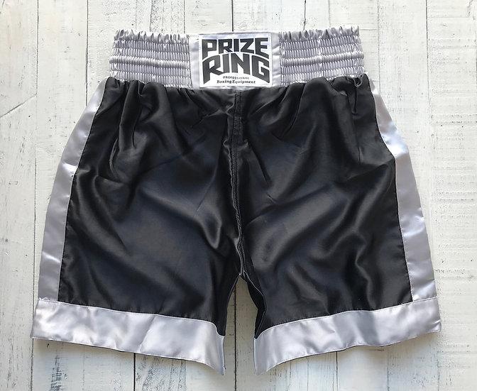 PRIZE RING Boxing shorts / Black & Silver / M, XL