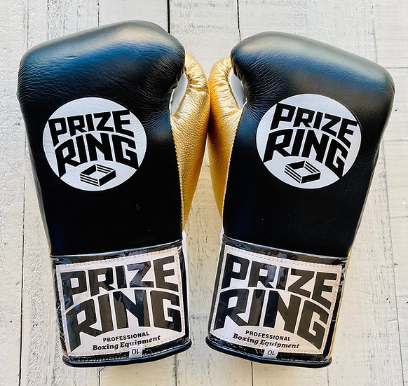 "PRIZE RING ""Pro-fight G10"" horse hair boxing gloves BK/Champagne gold 8oz/10oz"