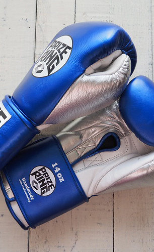 "PRIZE RING ""Pro-Training"" boxing gloves Shinny blue 14oz"