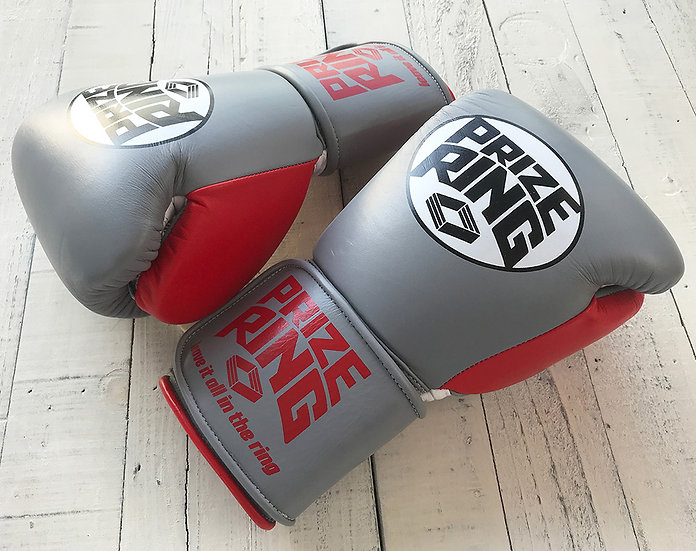 "PRIZE RING ""Professional 5.0"" boxing gloves Grey/Red 10oz"