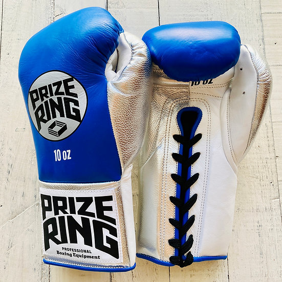 """PRIZE RING """"Pro-fight G10"""" horse hair boxing gloves Blue/Silver 8oz/10oz"""
