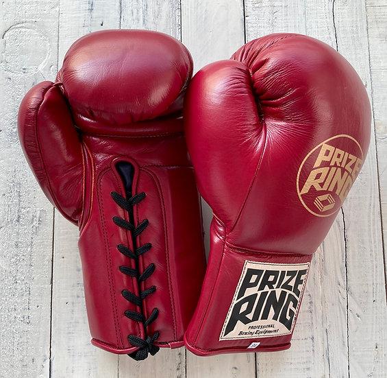 PRIZE RING old school vintage boxing gloves Maroon 10oz/16oz