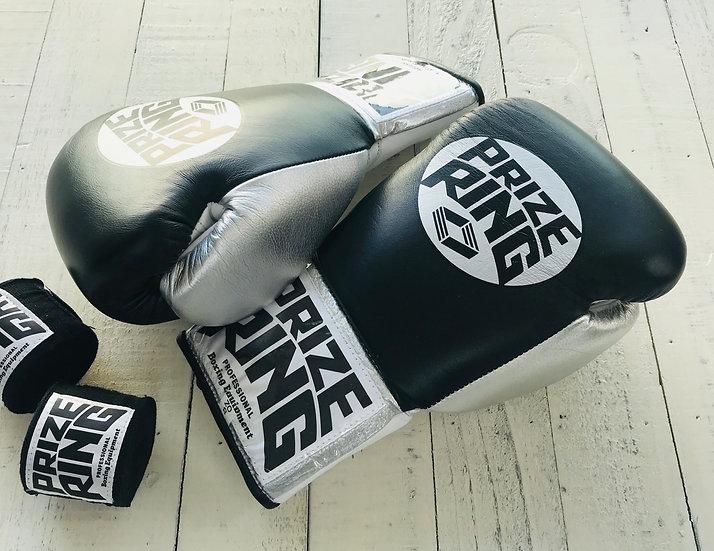 "PRIZE RING ""Pro-training"" gloves Black 8oz,10oz"