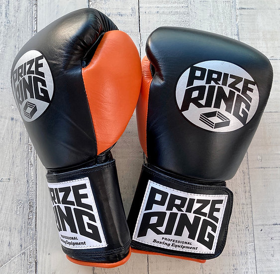 "PRIZE RING ""Professional 5.0"" boxing gloves BK/Orange 10oz/12oz/14oz"