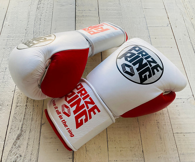 """PRIZE RING """"Professional 5.0"""" boxing gloves White/Red 10oz"""