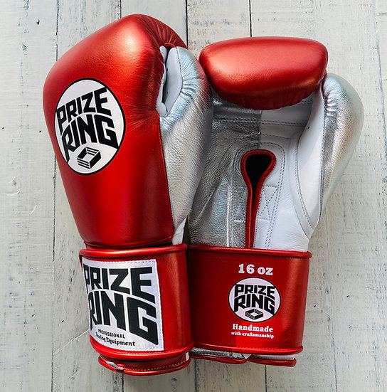 "PRIZE RING ""Pro-Training"" boxing gloves Shinny red 14oz/16oz"