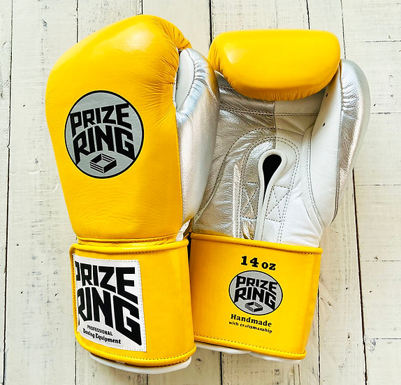 """PRIZE RING """"Pro-Training"""" boxing gloves Yellow/Silver 14oz/16oz"""