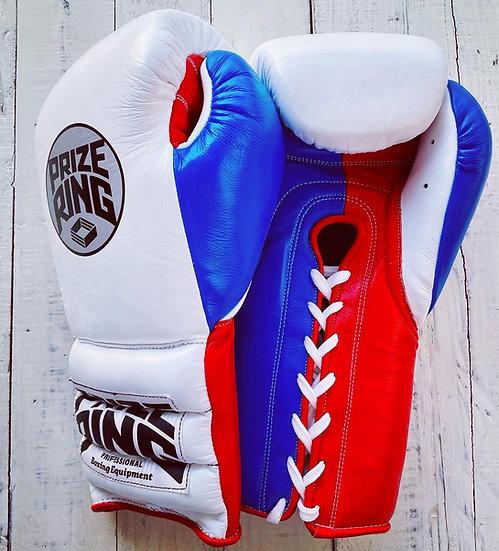 "PRIZE RING ""Pro-Training"" boxing gloves White/Blue/Red 14oz/16oz"