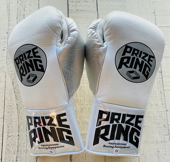 "PRIZE RING ""Pro-fight G10"" horse hair boxing gloves White/Silver 8oz/10oz"