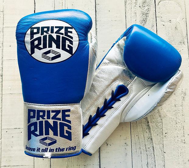 "PRIZE RING ""Pro-fight"" boxing gloves Blue/Silver/White 8oz,10oz"