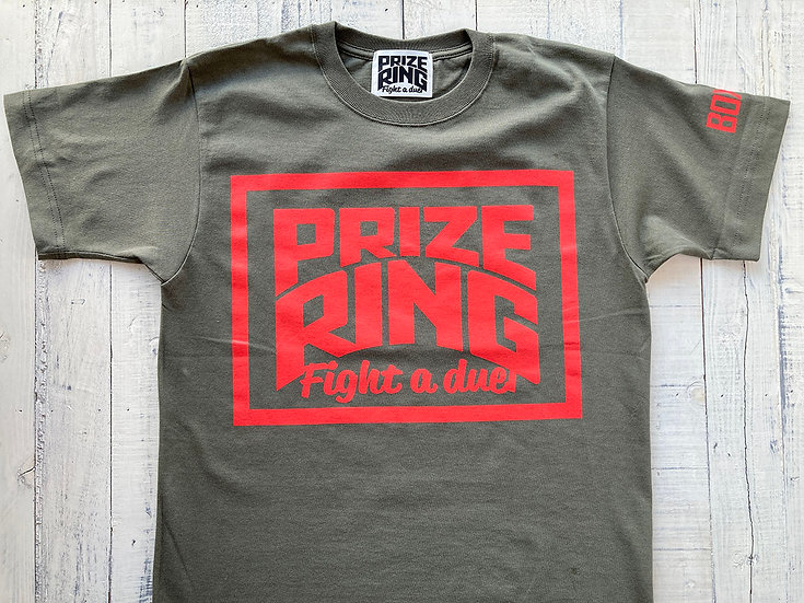 "PRIZE RING "" Logo TEE Khaki/Red"