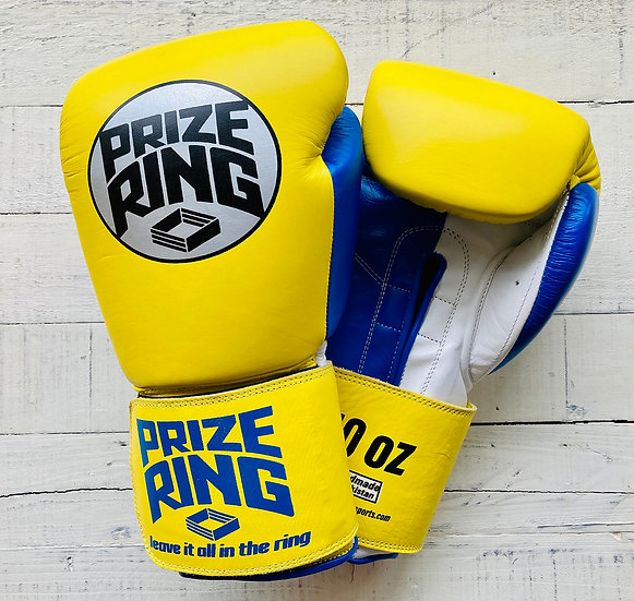 """PRIZE RING """"Professional 5.0"""" boxing gloves Yellow/Blue 10oz"""