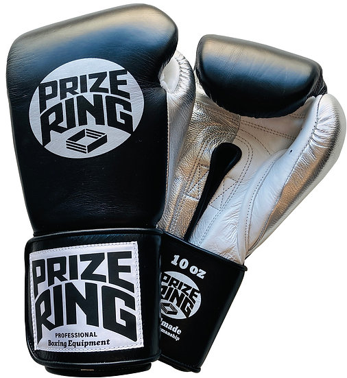 "PRIZE RING ""Pro-Training"" boxing gloves BK/Silver 8oz/10oz"