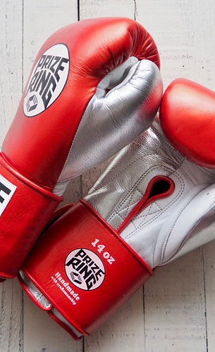 "PRIZE RING ""Pro-Training"" boxing gloves Shinny red 14oz"