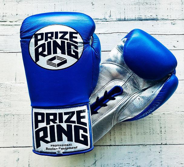"PRIZE RING ""Premier"" Pro-fight gloves Blue/Silver 8oz,10oz"