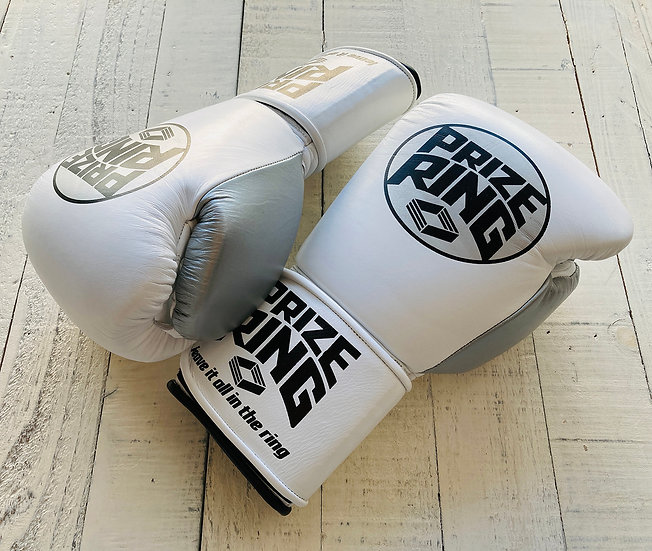 "PRIZE RING ""Professional 5.0"" boxing gloves White/Black 10oz/14oz"