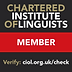Member of the Chartered Institute of Linguists