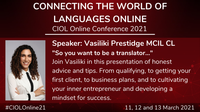 Vasiliki Prestidge presents at the CIOL Conference
