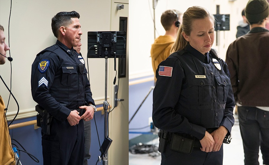 """Police uniforms on the set of Alexander Sylvester's """"If a Tree Falls."""""""