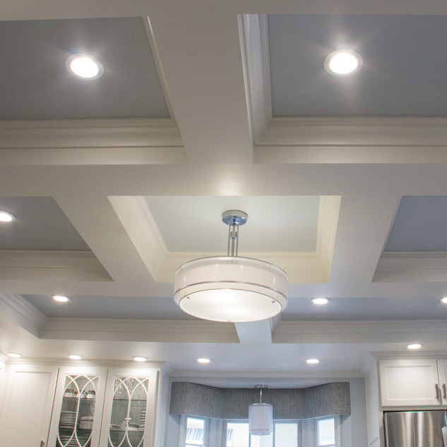 Transitional Kitchen Coffered Ceiling