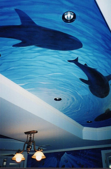 Basement Staircase & Activity Areafeaturingwrap-a-round Water themedCustom Murals and Decorative Painting available in Broward and Palm Beach Counties
