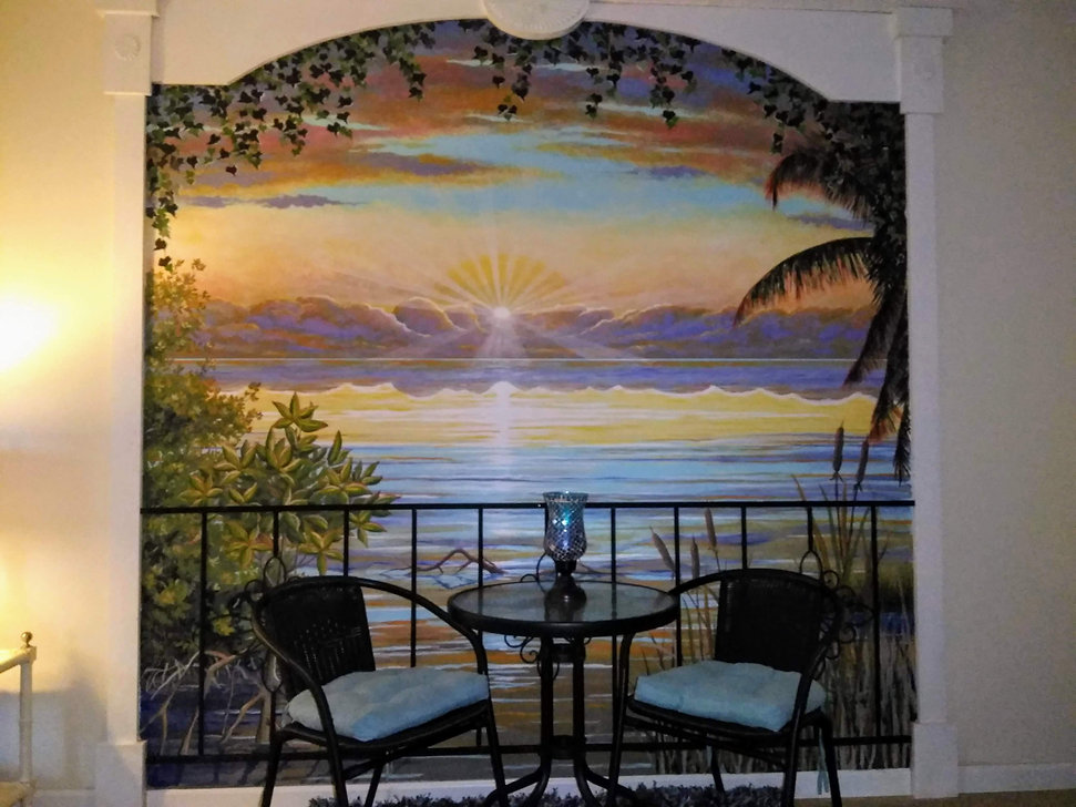 Dining Room Bistro Portable Panel & FramefeaturingCustom Sunset Mural and Decorative Painting Broward and Palm Beach Counties