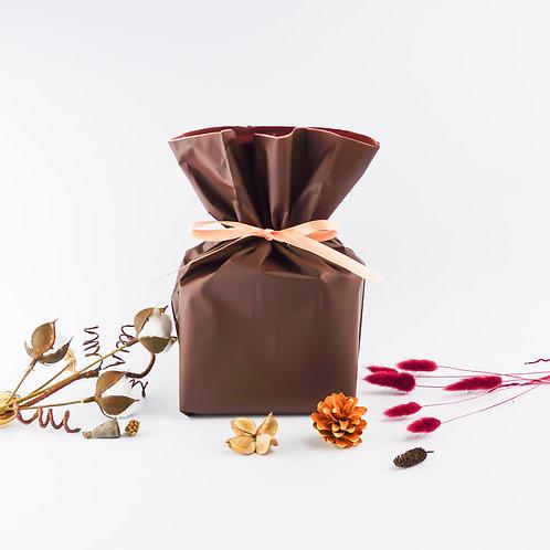 リボン付きラッピング「チョコレートブラウン」