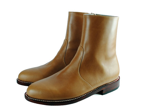 WHITMAN  Tan Leather Side Zip Ankle Boots