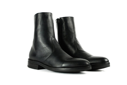 WHITMAN  Black Leather Side Zip Ankle Boots