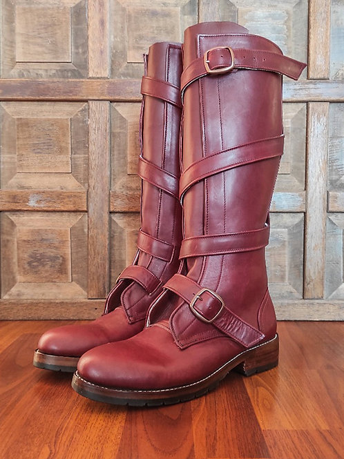 THOMPSON Oxblood Leather TANKER Tall Boots