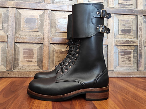 Double Buckle Military Combat Boots Black