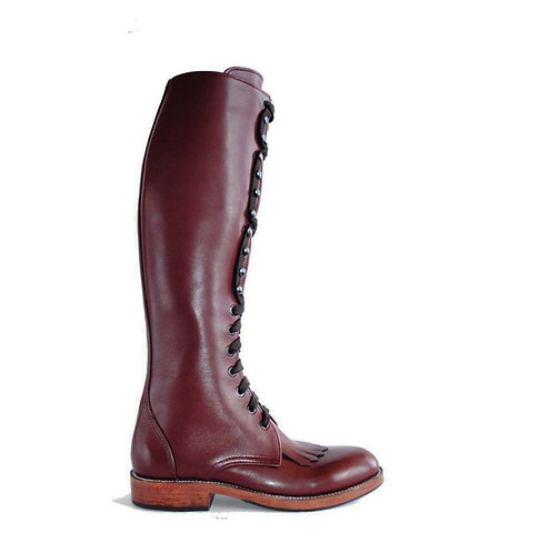 KEROUAC Oxblood Leather Tall Boots