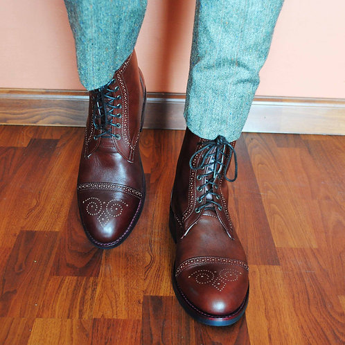 POE Oxblood Leather Brogue Boots