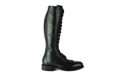 KEROUAC Black Leather Combat Boot
