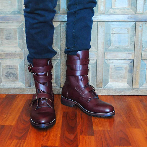 THOMPSON Oxblood Leather TANKER Boots