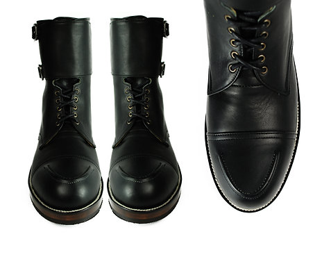 BYRON Black Leather Combat Boots.