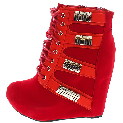 Mercury Red wedge boot