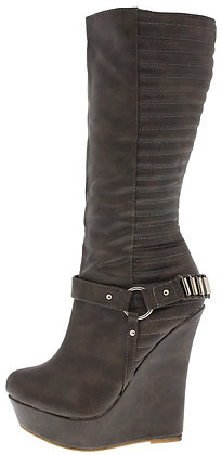 Kelli Grey Wedge Boot