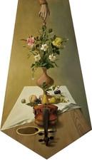 Nature morte, fleurs et violon