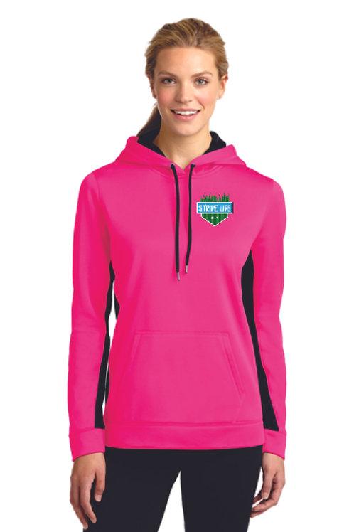 Sport-Tek® Ladies Sport-Wick® Fleece Colorblock Hooded Pullover (EB) LST235